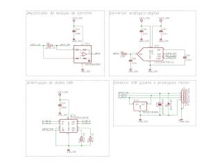 Circuito de interrupção das linhas de dados do barramento USB, e circuito de medição de corrente.