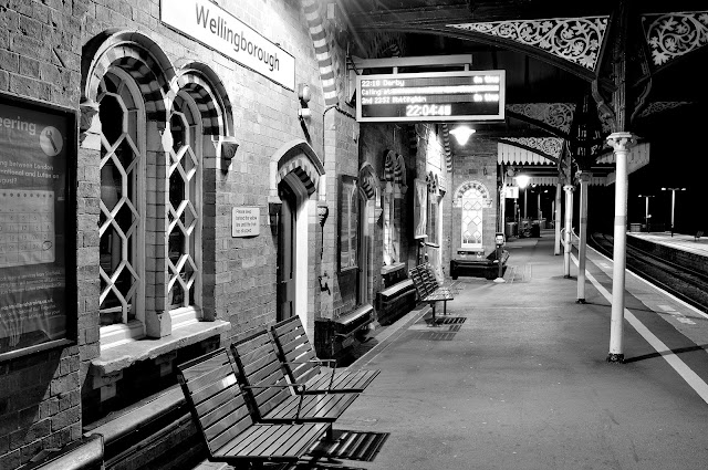 Night Photo of Wellingborough Station Platform 1 in black and white
