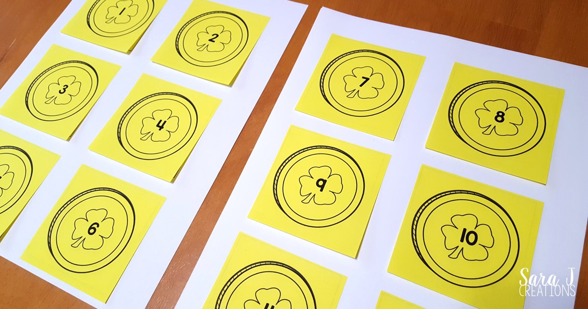 Sticky notes to practice number sequencing.  An easy, low prep activity to practice counting with a fun St. Patrick's Day coin theme.  FREE templates included.
