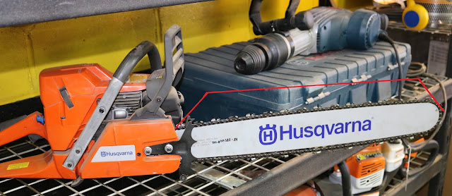 Diagram of finding bar length on Husqvarna chainsaw