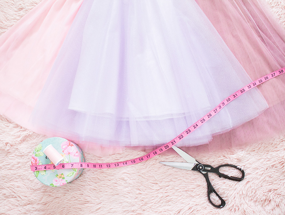 tulle skirts with sewing supplies