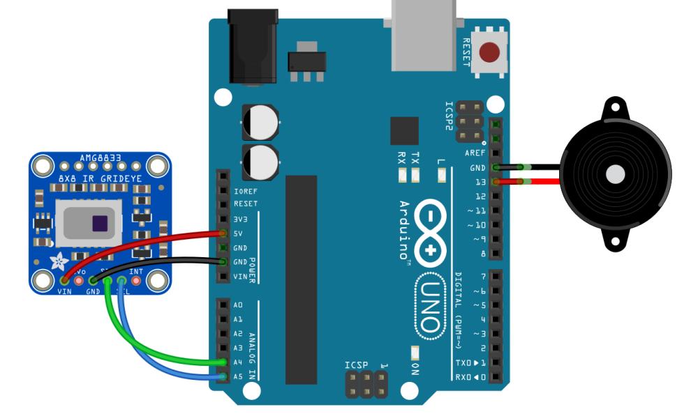 Cara Menghidupkan Buzzer Pada Suhu Tertentu Sensor AMG8833 Arduino