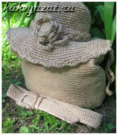Комплект пляжных аксессуаров из джута: сумка, шляпа и ремень.