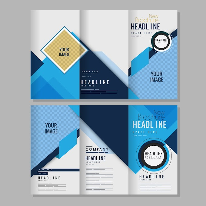 Brochure templates bright abstract modern decor trifold shape Free vector