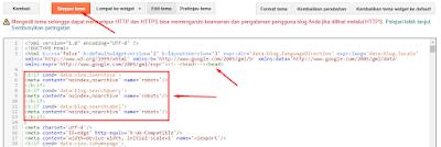 Edit HTML Untuk Mengatasi Pesan Peringatan Indeks di Search Console