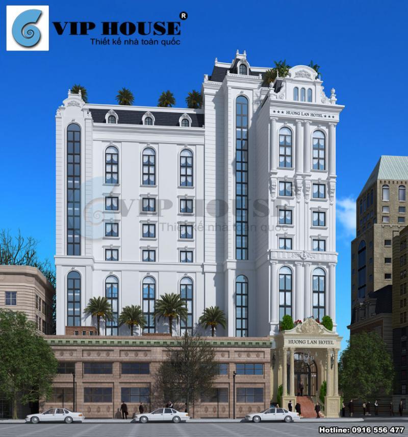 Hình ảnh: Mặt tiền của thiết kế khách sạn 4 sao hình chữ L tại Quy Nhơn