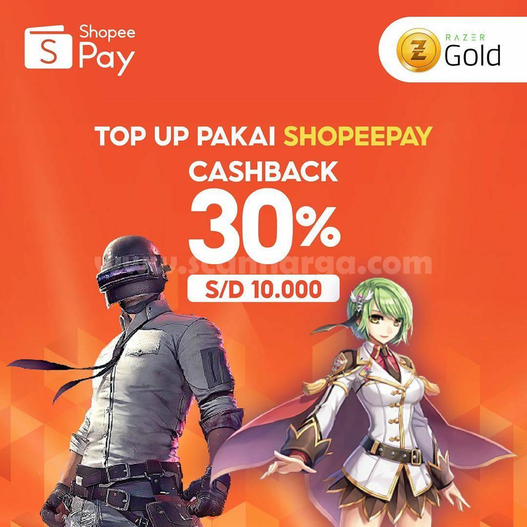Razer Gold Top Up Game Pakai Shopeepay Cashback 30% hingga Rp 10.000,-