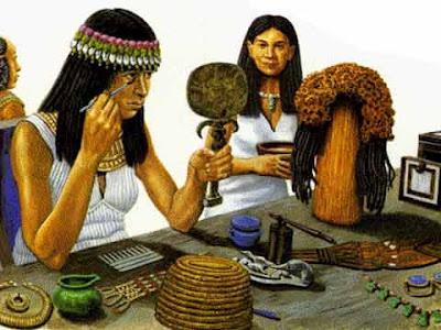 Antichi egizi: donne intente a truccarsi