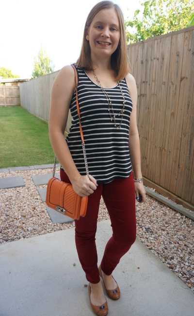 burgundy skinny jeans with black and white striped tank and rebecca minkoff orange love crossbody bag | awayfromblue