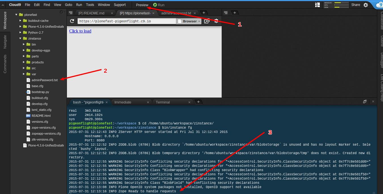David Bain's Blog: 5 minute Plone 4 install on Cloud9 IDE