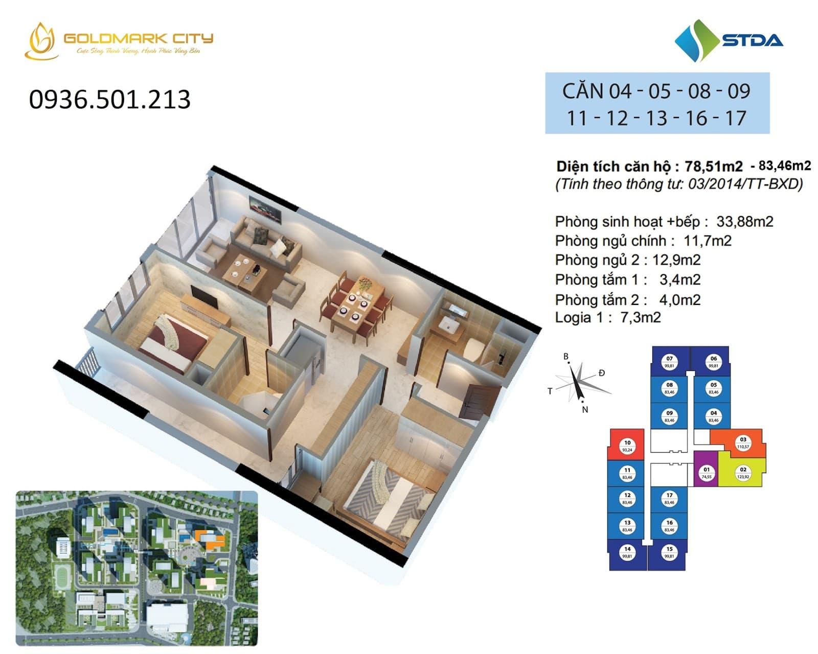 Mặt bằng căn hộ số 04-05-08-09-11-12-13-16-17 Ruby 2- Goldmark city 136 Hồ Tùng Mậu