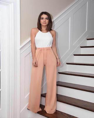 outfit palazzo pastel minimalista