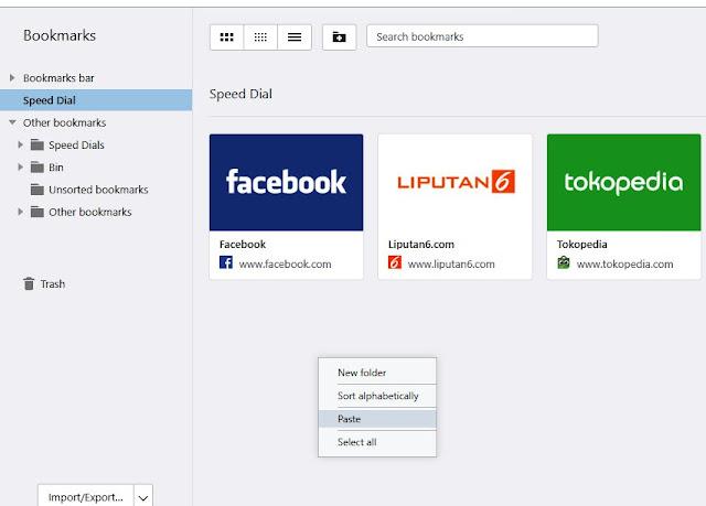 Paste Speed Dials Opera Browser