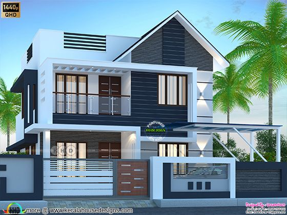 4 BHK mixed roof house rendering