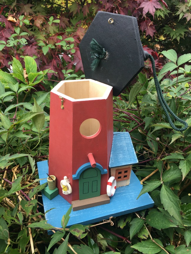 Christmas-gift-guide-2018-Alfresia-handmade-hanging-lighthouse-bird-box-and-feeder-with-top-open