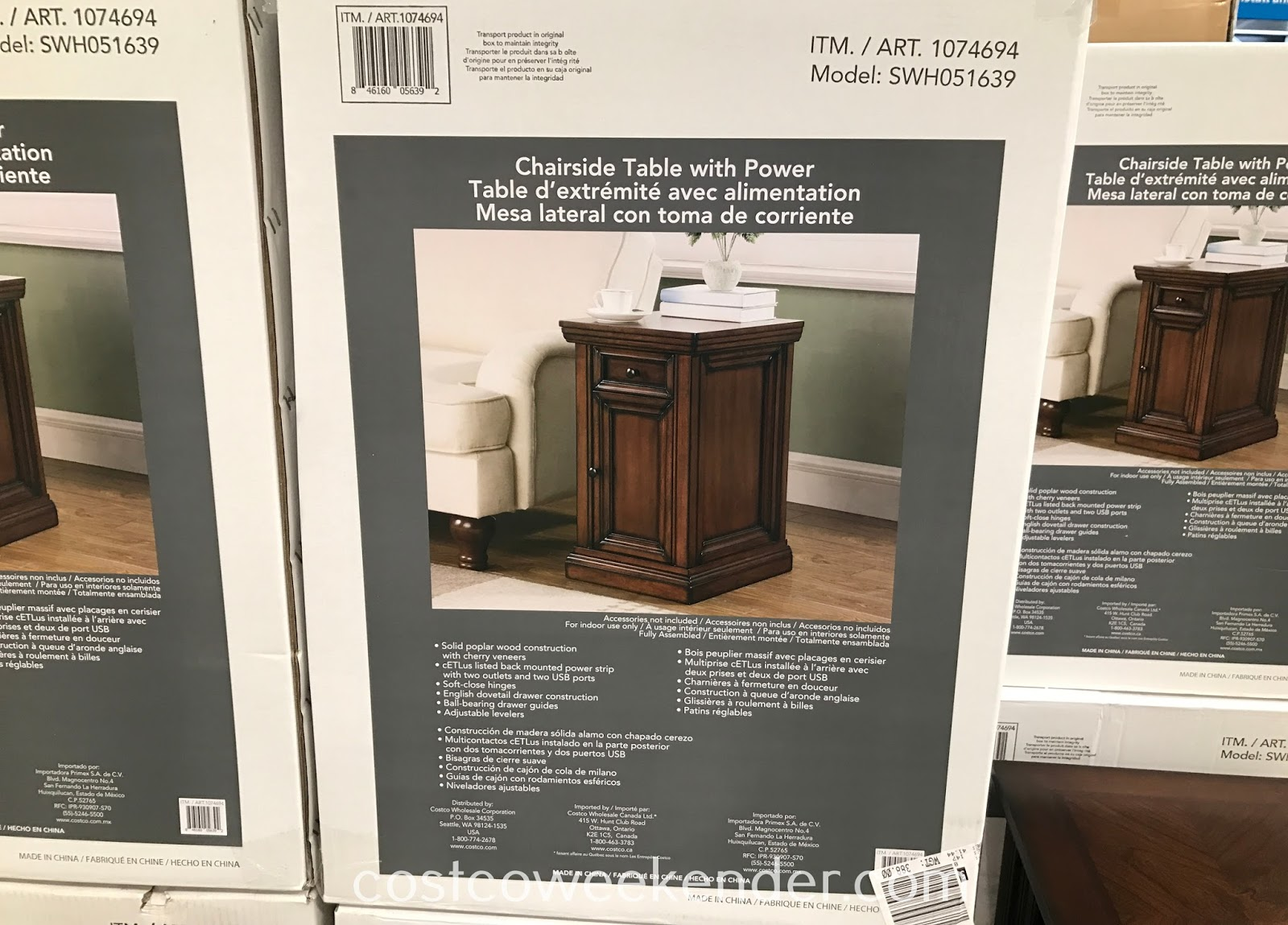 Costco 1074694 - The Well Universal Chairside Table with Power is perfect right by your recliner