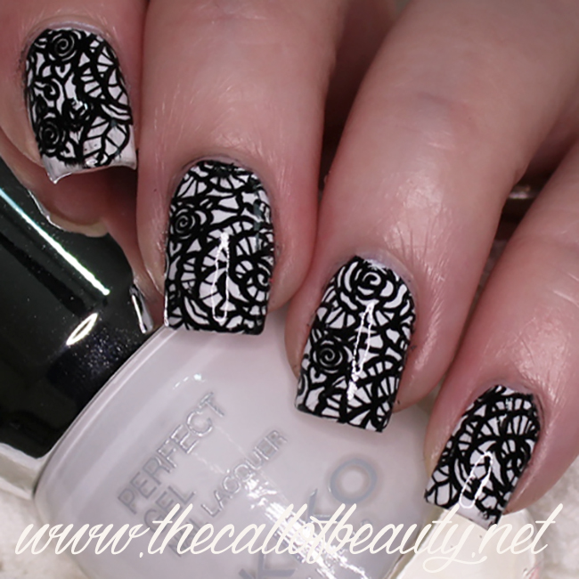 Black & White Lace Nail Art