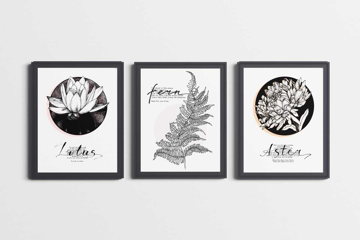 Lotus, Aster, Fern, Inktober, Sonia Nezvetaeva, art blog