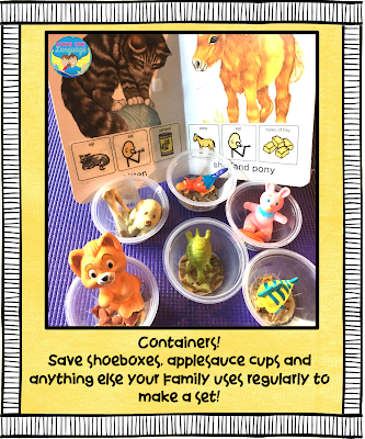 Adapt your books and collect containers for play.