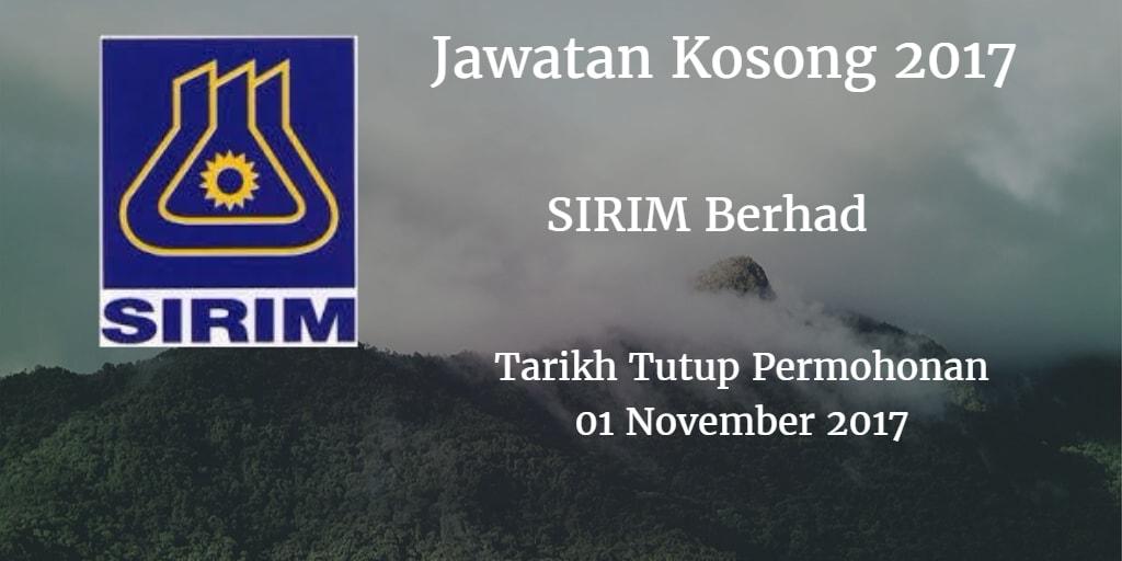 Jawatan Kosong SIRIM Berhad 01 November 2017