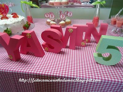 Decoração da mesa letras 3D