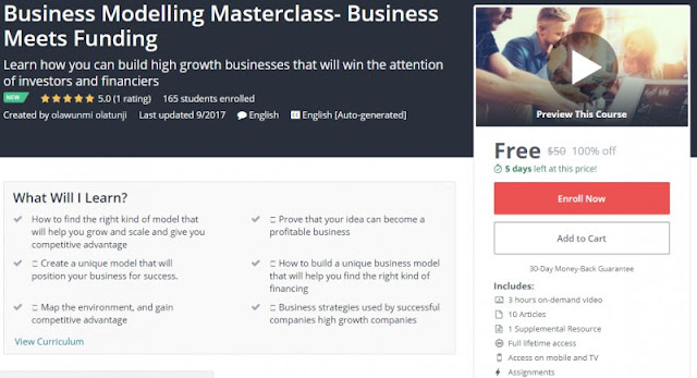 [100% Off] Business Modelling Masterclass- Business Meets Funding| Worth 50$