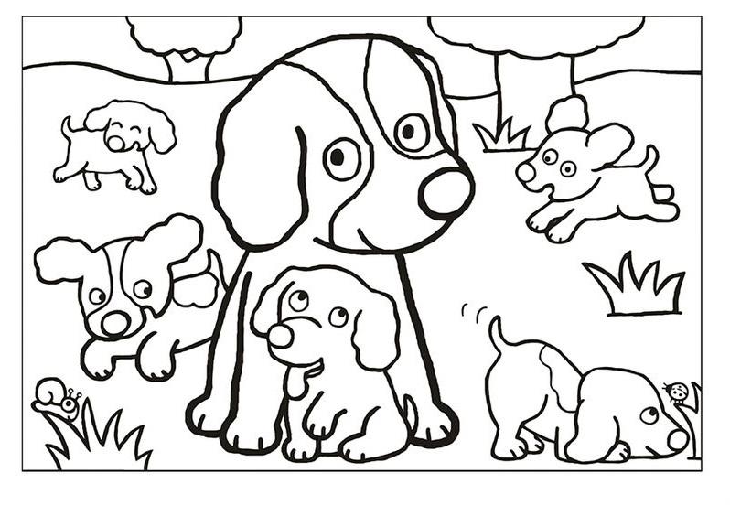 Tranh tô màu gia đình con chó cún xinh