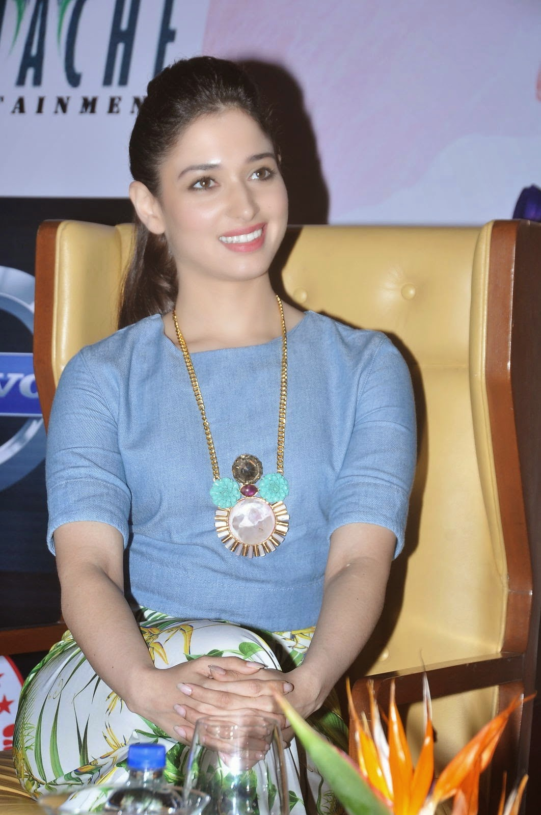 Tamannaah Bhatia Cute Smiling Photos In Blue Top