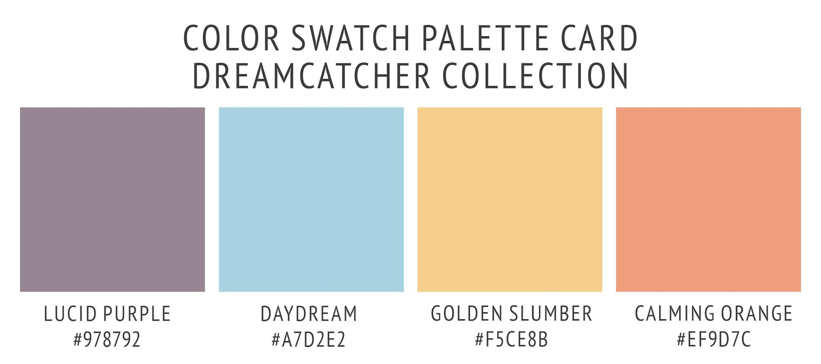 Boho dreamcatcher collection's color palette card. With swatches and color hex codes. In lucid purple, daydream blue, golden slumber yellow, and calming orange color scheme.