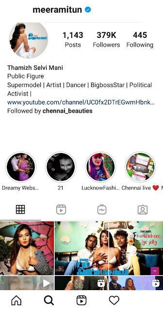 Meera mithun instagram
