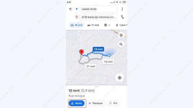ikuti rute menuju lokasi atm bank bjb