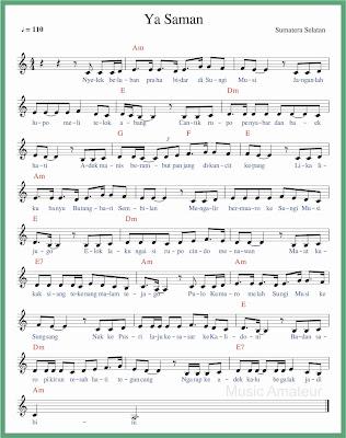 not balok lagu ya saman 1