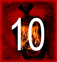 a graphic (c) Erika Grey 10 Days of Tribulation in the book of Revelation 10 Days of Daniel features a giant white 10 in the mouth of a scarlet lion whose open roaring mouth is filled with fire signifying the lions den and the fiery furnace of the book of Daniel and of the 10 days of Tribulation in the book of Revelation