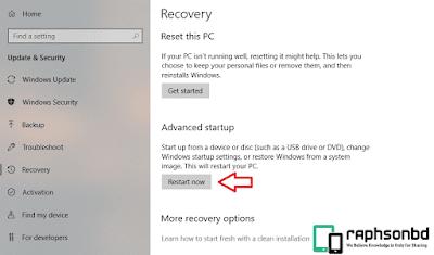 Windows 10 Advanced Startup 'restart'