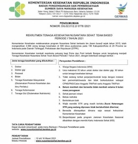Lowongan Kerja D3/S1 di Kementerian Kesehatan RI Maret 2021