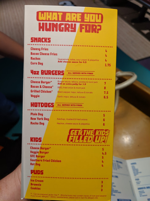 Gutterball Royal Quays Review   - food menu