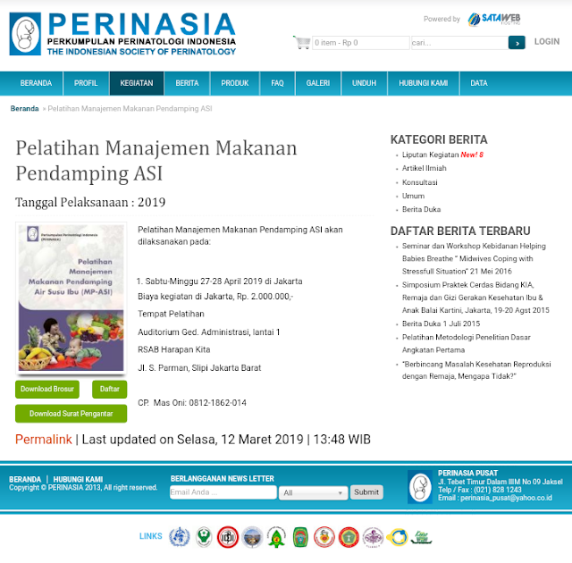 Pelatihan Manajemen Makanan Pendamping ASI-PERINASIA (28-29 April 2019) Jakarta