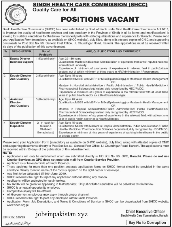 Advertisement for Sindh Health Care Commission Jobs