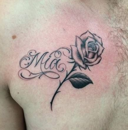 Name tattoo on chest for men