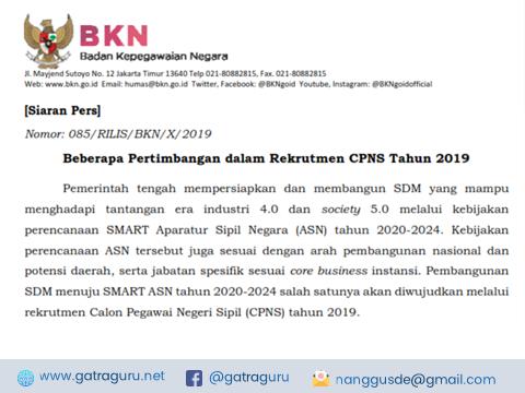 Rekrutmen CPNS Tahun 2019 Akan Dilaksanakan Bulan Nopember