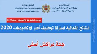 النتائج النهائية لمباراة توظيف أطر الأكاديميات 2020 جهة مراكش أسفي