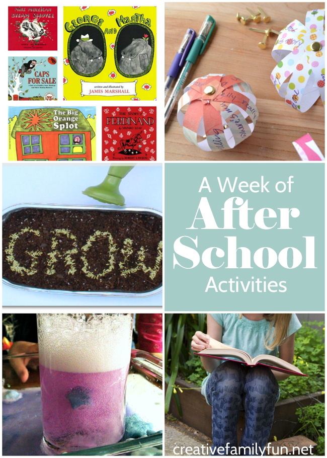 A week's worth of after school activities for your school-aged kids.