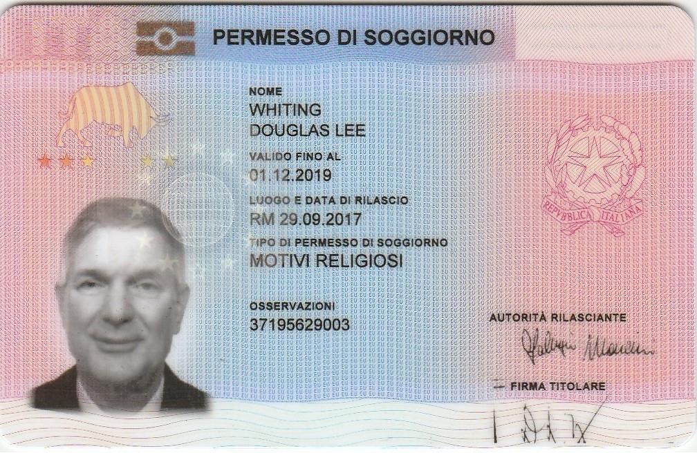 Whitings italy rome mission 20172019 Permesso di soggiorno
