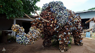 An elephant made by trash from the Congo River