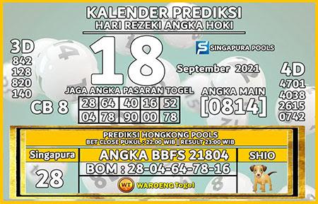 Kalender Prediksi SGP Sabtu 18 September 2021