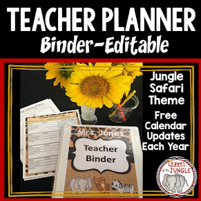 Editable Teacher Planner Binder - Safari Jungle Theme