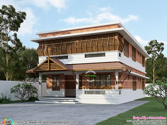 Flat roof style traditional Kerala home design