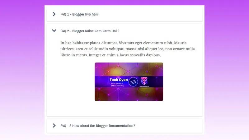 Stylish FAQ Accordion Widget For Blogger