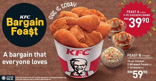promosi kfc bargain feast, harga kfc bargain feast a dan b, gambar harga kfc bargain feast, kfc malaysia, ayam kfc sedap