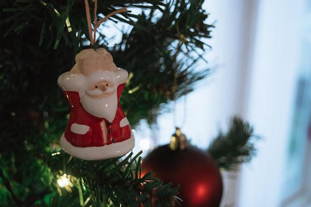 Ceramic Santa decoration close up